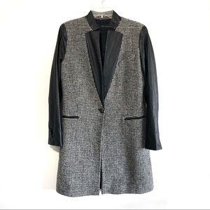 Zara tweed wool faux leather long blazer jacket